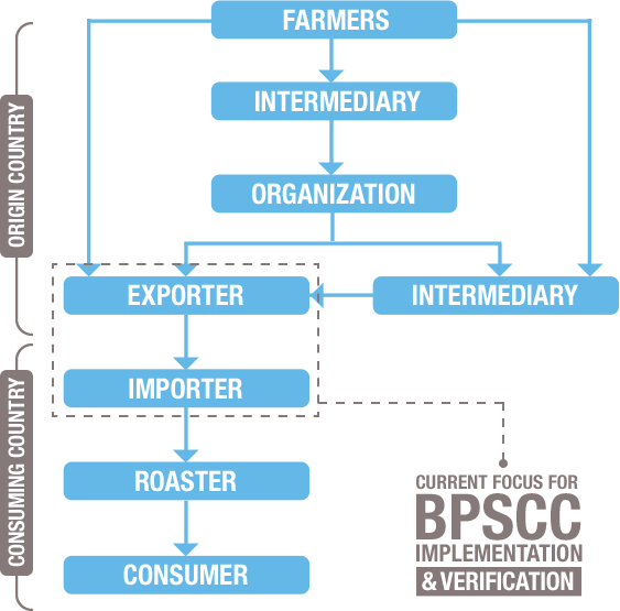 Infographic six key levels in the supply coffee chain